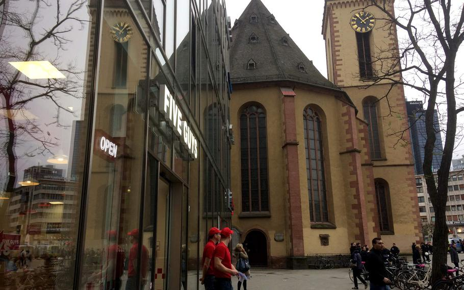 The exterior of Five Guys in Frankfurt, Germany. The chain's first German location is in the heart of Frankfurt's pedestrian Zeil district.