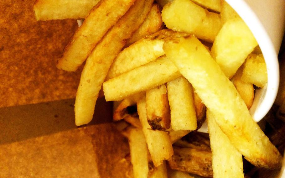 French fries at Five Guys in Frankfurt, Germany. The chain's famous fries are fresh cut and fried to order.