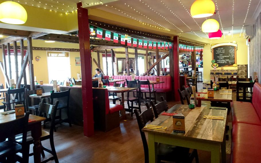 Amigos Mexican Restaurant in Bury St. Edmunds, England, offers a selection of Mexican staples plus ales like Pacifico and Corona and several flavors of Jarritos soda.