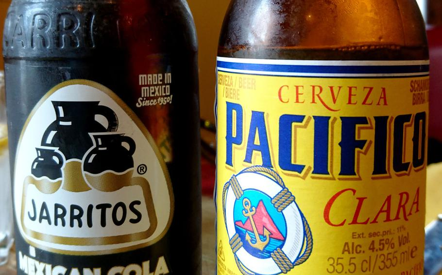 Drinks at the Amigos Mexican Restaurant in Bury St. Edmunds, England, include Jarritos soda and Pacifico beer.