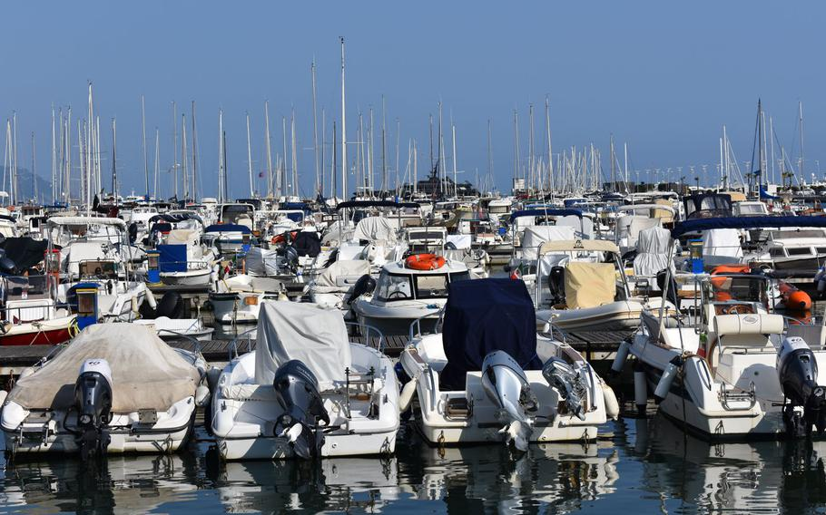 Boats are moored in the harbor in La Spezia, Italy. The town is primarily known as the gateway to Cinque Terre but has plenty to offer in its own right.
