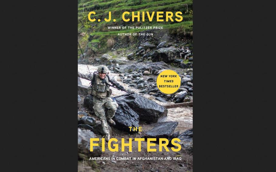Pictured here is the cover of ''The Fighters: Americans in Combat in Afghanistan and Iraq,'' which features a photograph of an ambush beginning alongside Afghanistan's Korengal River on April 15, 2009, taken by Tyler Hicks of the New York Times.