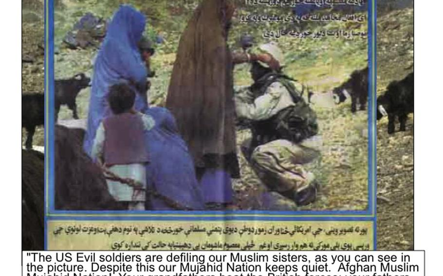 An example of Taliban propaganda, showing a U.S. female soldier searching a female Afghan and presenting the situation as a male U.S. soldier defiling a woman.