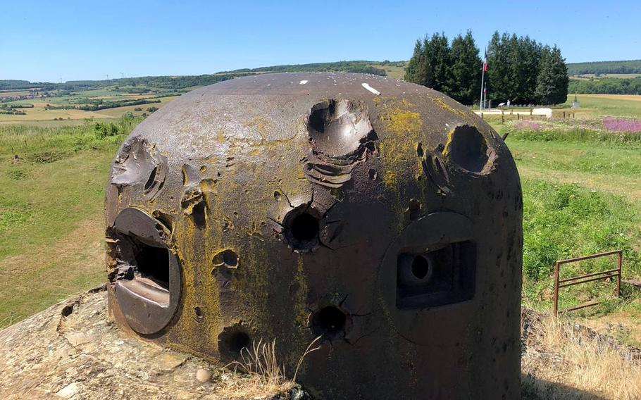 A machine gun cupola on the little Fort of La Ferte, after being hit by numerous German artillery shells. None penetrated, but a lucky hit on the edge of one of the openings sprayed shrapnel inside, killing all three occupants.