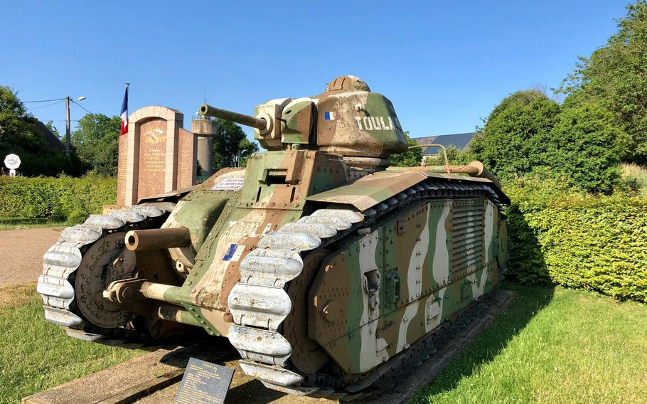 A French Char B1 medium tank that took part in the Battle of Stonne, a failed atttempt by the French army to plug the gap created by the German breakthrough at Sedan. During the fighting, the village -- located about 12 miles south of Sedan -- changed hands 17 times.