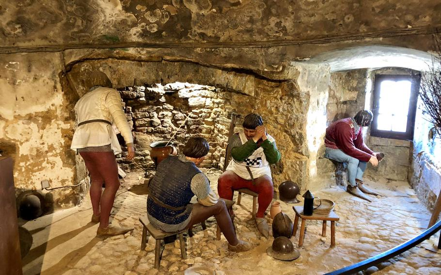 A diorama inside Sedan Castle depicts the lives of ordinary soldiers in the garrison in the Middle Ages.