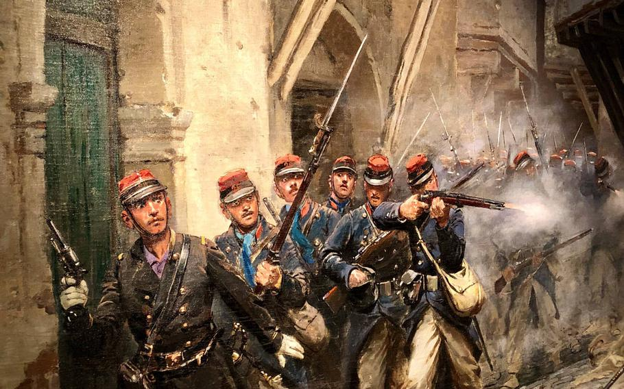 A painting inside the museum of Sedan fortress depicts French naval infantry in action in the 19th century.