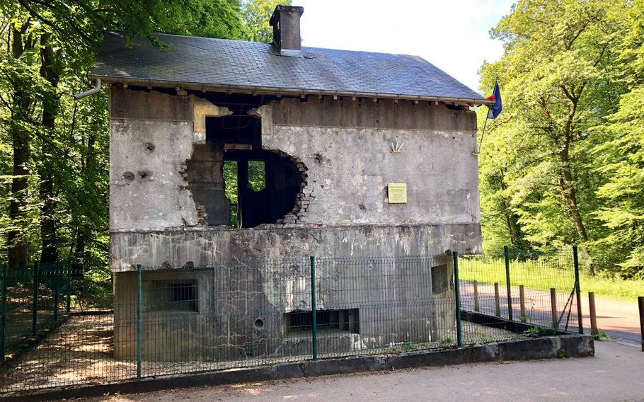 A blockhouse in the Ardennes forest between Sedan and the nearby Belgian border. In 1940 French generals considered the Ardennes to be impassable for German tanks. A lieutenant and anti-tank 4 gunners died in the bunker trying to stop the German advance on May 10, 1940.