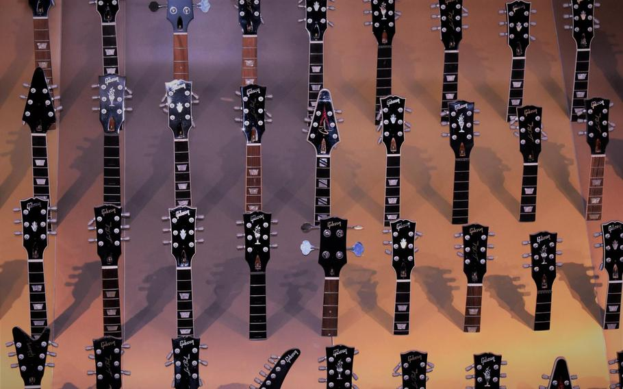 Guitars and other musical memorabilia cover the walls and hallways of the original Hard Rock Cafe in the West End of London.