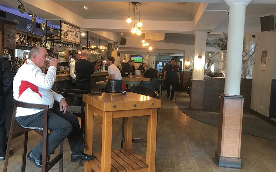 The interior of White Hart Hotel, located in Newmarket, U.K., has plenty of space for people in the first-floor dinning area.