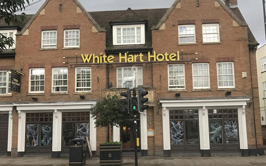 The White Hart Hotel located in central Newmarket, U.K., is pictured Nov. 2, 2019, with Halloween decorations.  Christopher Dennis/Stars and Stripes