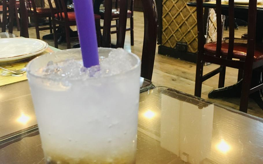 Filipino gulaman at sago, a carbonated beverage served with brown sugar, grass jelly and tapioca balls, is a popular drink at Bahay Kubo restaurant in Manama, Bahrain.