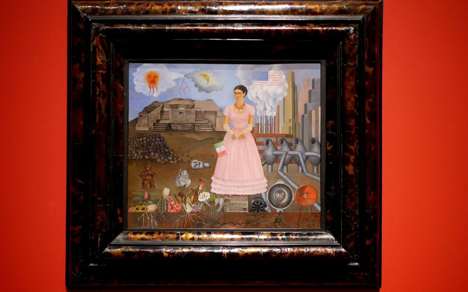 """Frida Kahlo's """"Self-Portrait on the Borderline between Mexico and the United States'' is one of the many surrealist pieces of art on display in a new exhibit at the Schirn in Frankfurt, Germany, through July 5."""