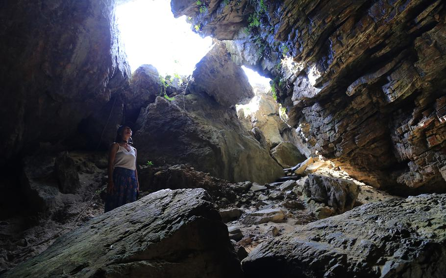 Kumaya Cave on the north side of Okinawa's Iheya Island is a sacred place for locals. It's said that Amaterasu, the goddess of the sun in Japanese mythology, hid herself in the cave and the world was covered in darkness.