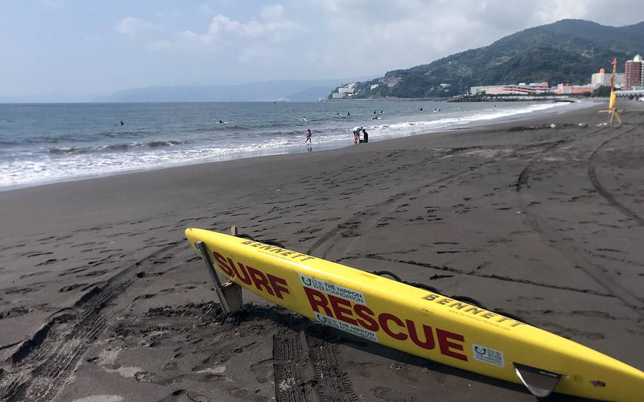 The surf is not extreme at Yugawara Beach in Kanagawa prefecture, Japan, but lifeguards are on hand just in case.