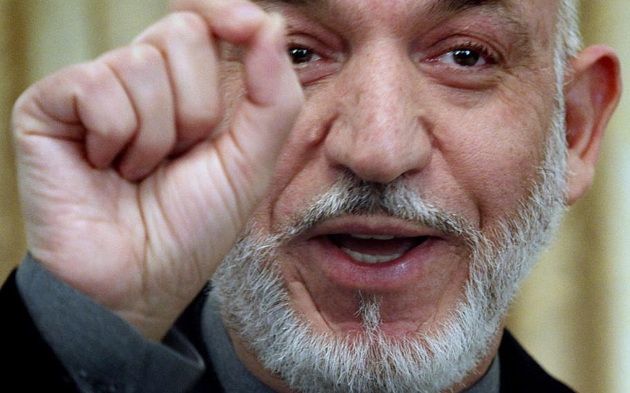 Afghan President Hamid Karzai speaks during a press conference in Kabul, Afghanistan on Feb. 8, 2011.