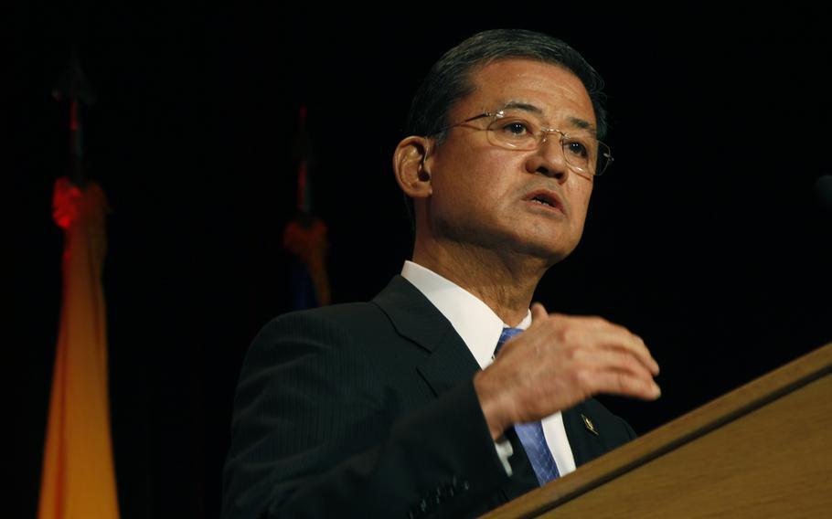 VA Secretary Eric Shinseki speaks about veteran care at the 2012 Warrior-Family Symposium in Washington, DC on Sept. 13, 2012.