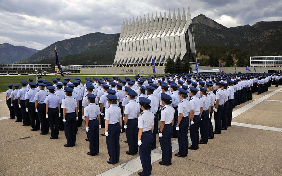 The U.S. Air Force Academy cadet wing lines the terrazzo in Colorado Springs, Colo., Sept 11, 2012.