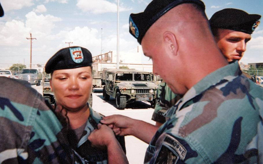 Iraq War veteran Aryanna Strader,  a Democrat running for Pennsylvania's 16th district, at her E-4 promotion ceremony at Fort Bliss, Texas in May 2003, where she served in the 7th Air Defense Artillery, XVIII Airborne Corps.