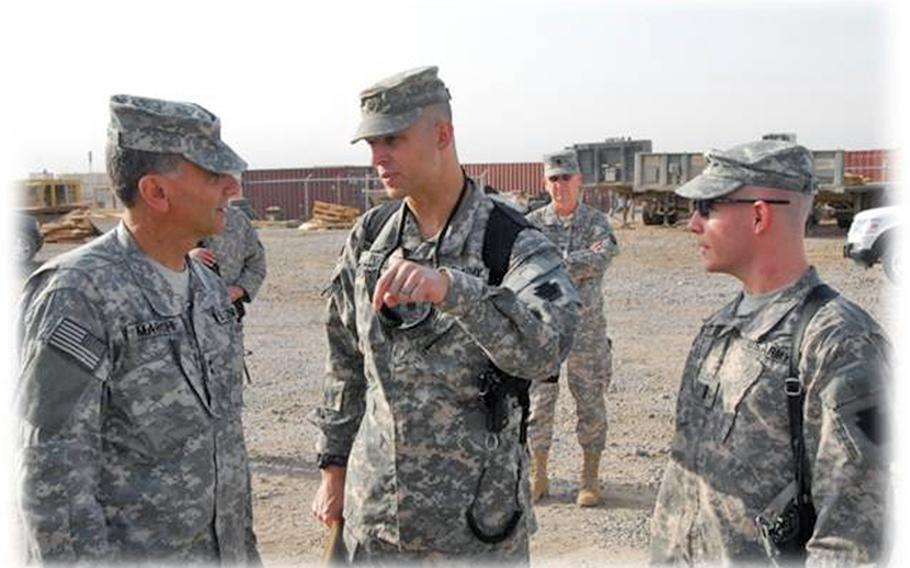 Republican Scott Perry, who is running for a U.S. House seat in Pennsylvania's 4th district, pictured at the Ali Air Force Base in Iraq in August 2009. Perry, who was battalion commander of the 2nd Battalion, 104th Aviation is briefing Army Maj. Gen. Randall Marchi, then the Commanding General of the 28th Infantry Division.
