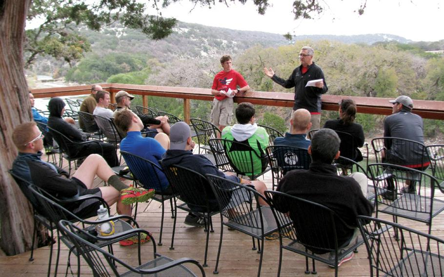 Instructors at Team Red, White & Blue's November running camp talk to veterans and civilians about training strategies for endurance runs.