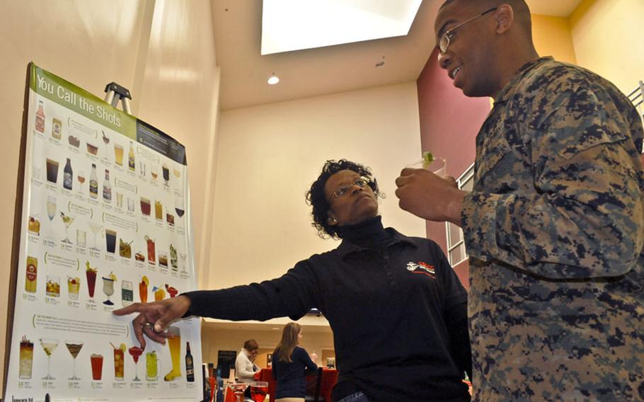 Pamela Moment, drug demand reduction coordinator at the Consolidated Substance Abuse Counseling Center, explains to Brandon Harrisel, an administration specialist at Training and Education Command, the risk of drinking a considerable amount of alcohol during the Semper Fit-Health Promotion Happy Holiday Happy Hour on Dec. 12, 2012. The annual event teaches alternatives to drinking alcohol and the dangers of binge drinking.