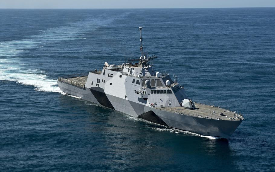 The littoral combat ship USS Freedom conducts sea trials in the Pacific Ocean off the coast of Southern California on Feb. 22, 2013.