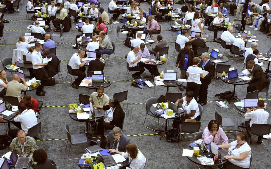 The VA hosts a career fair during the National Veteran Small Business Conference in Detroit, June 26, 2012.