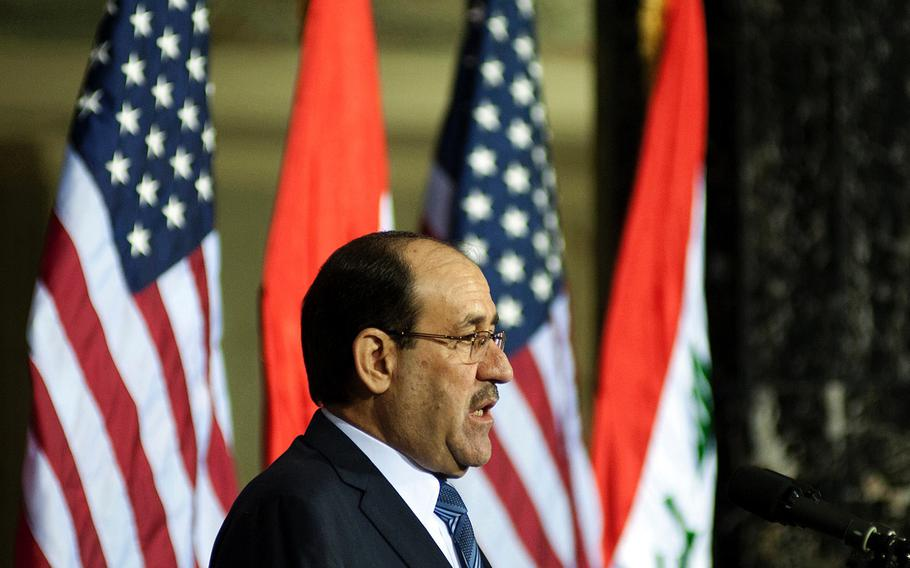 Iraqi Prime Minister, Nouri al-Maliki gives a speech at Victory Base Complex, Iraq, on Dec. 1, 2011. The ceremony commemorated the sacrifices and accomplishments of U.S. and Iraqi servicemembers.