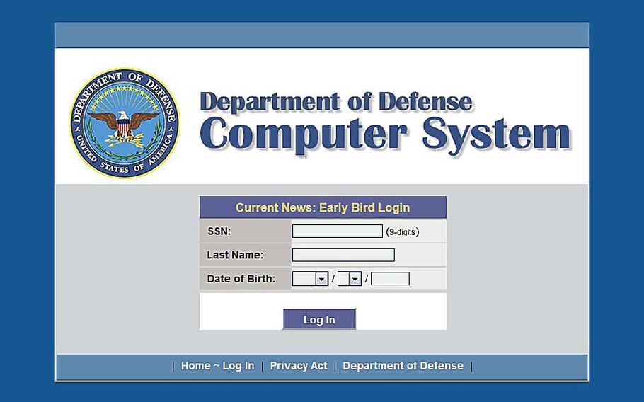 Internet screen grab of the DOD's Early Bird log in.