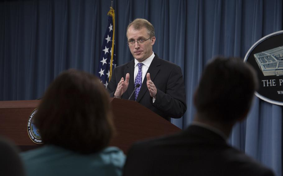 Pentagon Press Secretary George LIttle delivers a press briefing at the Pentagon Nov. 12,  2013.