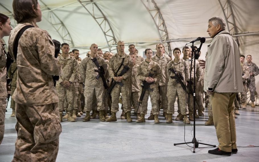 U.S. Secretary of Defense Chuck Hagel speaks to service members with Regional Command (Southwest) at Camp Leatherneck, Helmand province, Afghanistan, Dec. 8, 2013.