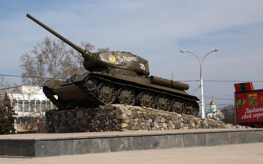 A Russian tank turned into a war memorial, in central Tiraspol, is seen March 23, 2014, in the soviet Republic of Trans-Dniester, a sliver of contested land that declared its independence from Moldova, Europe's poorest nation, back in 1990 but is yet to be recognized by any government around the world. With a population of just half a million, a mix of ethnic Russians, Moldovans and Ukrainians, Trans-Dniester is little more than a blip on the map, but in recent weeks it has become the focus of much political attention.
