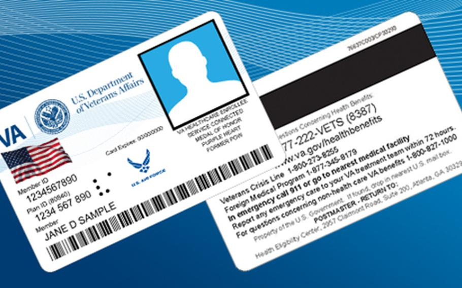 This illustration shows the Department of Veteran Affairs' identification cards for veterans.