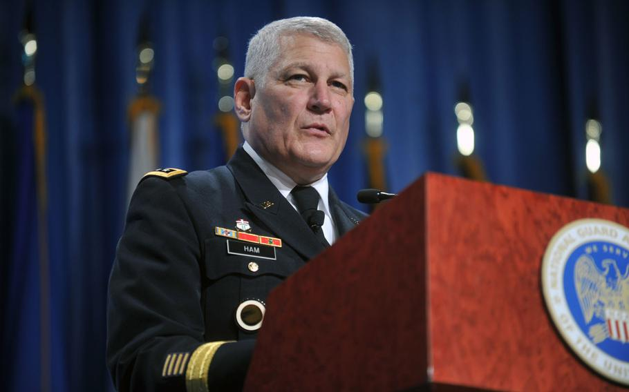 Then-Army Gen. Carter Ham, combatant commander, U.S. Africa Command, addresses the 134th National Guard Association of the U.S. General Conference in Reno, Nev., Sept. 10, 2012.