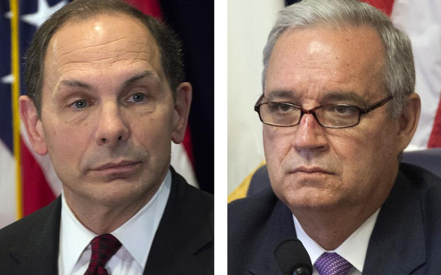 After Secretary of Veterans Affairs Bob McDonald (left) and House Committee on Veterans Affairs, Chairman Jeff Miller, R-Fla. (right).