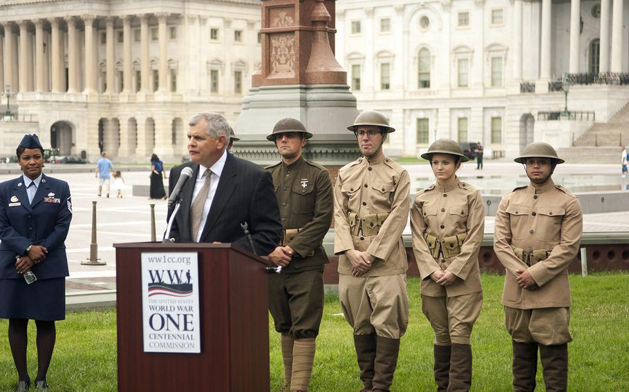 Retired Army Col. Rob Dalessandro, the chairman of The World War I Centennial Commission speaks at an awareness event at the Capitol in Washington, D.C., on Tuesday July 21, 2015.