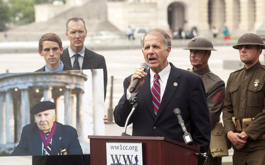 U.S. Rep. Ted Poe, R-Texas, speaks at an awareness event hosted by the World War I Centennial Commission at the Capitol in Washington, D.C., on Tuesday July 21, 2015. Next to Poe is a poster of WWI veteran Frank Buckles, who lobbied members of Congress for a memorial before he passed away in 2011 at the age of 110.