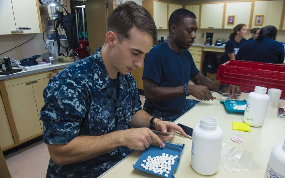 Hospital Corpsman 3rd Class Kory Alliton and Hospital Corpsman 3rd Class Roy Lightner package medications in preparation for the next mission stop aboard Military Sealift Command hospital ship USNS Comfort on July 24, 2015. The Defense Department has warned Congress that by the end of this week its health care system could run out of money to provide outside treatment for troops and dependents.