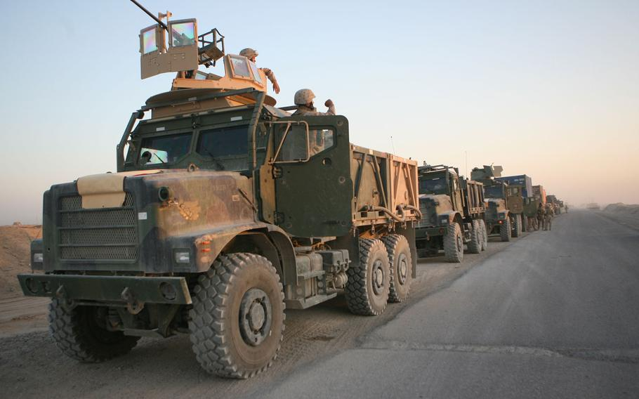 Marines head back to Camp Fallujah the morning of May 24, 2006.
