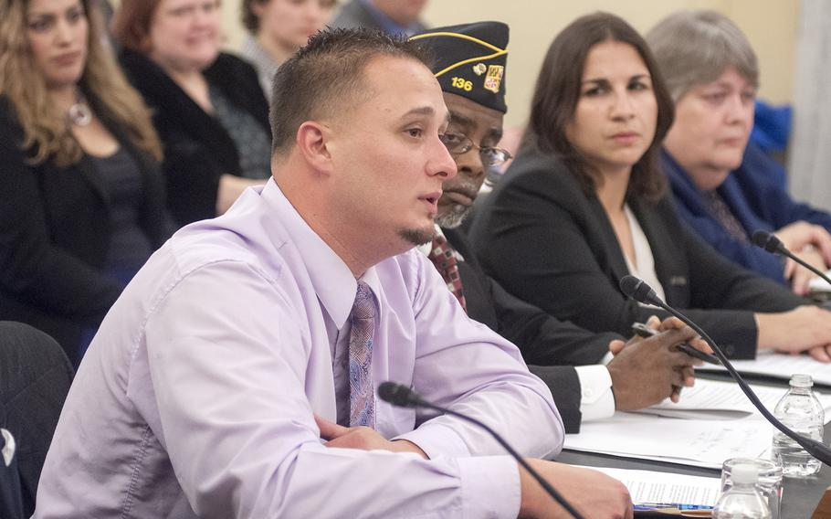 """Navy veteran Dean Maiers, left, testifies during a Senate Committee on Veterans Affairs hearing on Capitol Hill in Washington, D.C., on Wednesday, Oct. 28, 2015. Maiers said if it wasn't for the  help he received from a Comprehensive Work Therapy program in Connecticut, """"I would never have gotten back on track."""""""