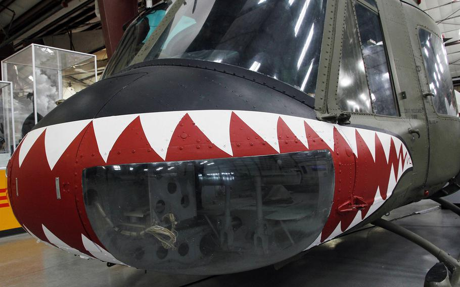 A shark's-teeth pattern adorns a Bell UH-1C Iroquois (Huey) helicopter at the Pima Air and Space Museum in Tucson, Arizona.