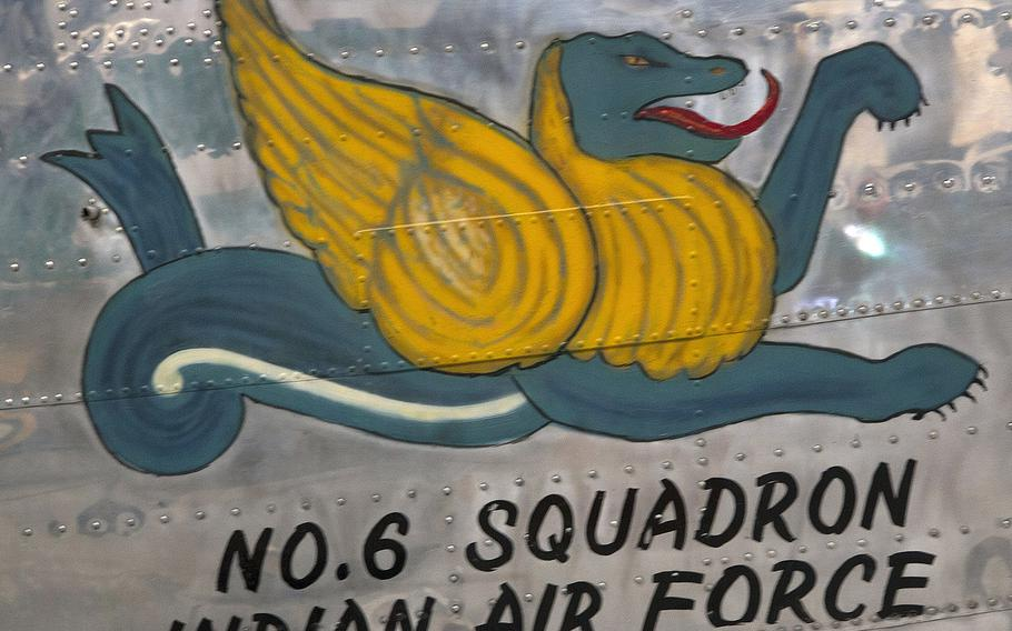 Aircraft art on a Consolidated B-24J Liberator at the Pima Air and Space Museum in Tucson, Arizona. After World War II, this plane was turned over to the Indian Air Force by Great Britain.
