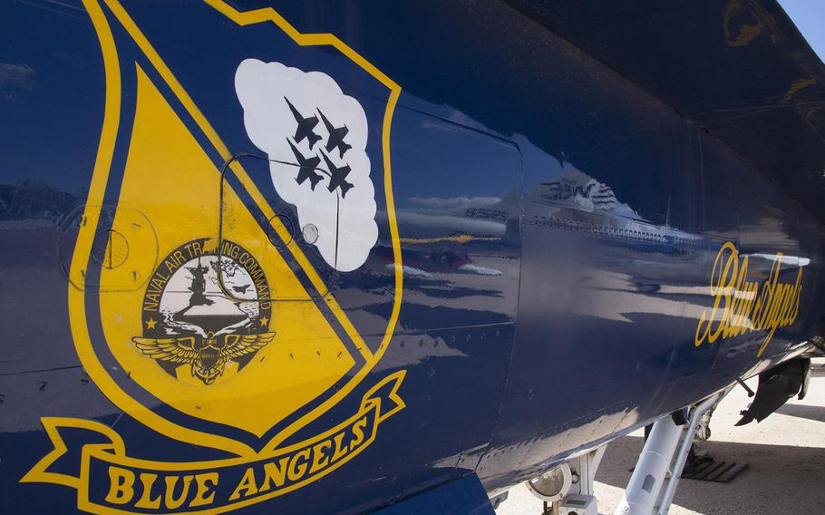 Aircraft art on an F/A-18A Hornet from the U.S. Navy's Blue Angels, at the Pima Air and Space Museum in Tucson, Arizona.