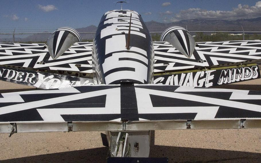 """A Beechcraft UC-45, decorated as part of """"The Boneyard Project,"""" at the Pima Air and Space Museum in Tucson, Arizona."""
