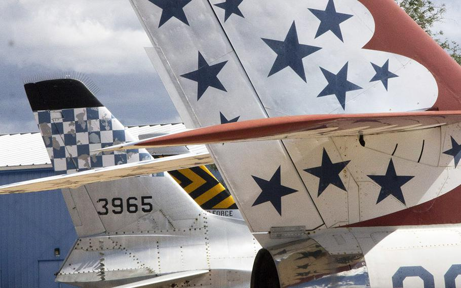 Aircraft art on a Republic Thunderstreak from the U.S. Air Force Thunderbirds, at the Pima Air and Space Museum in Tucson, Arizona.