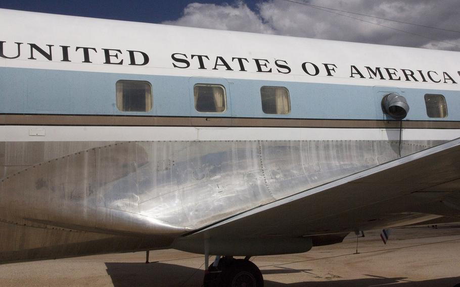 The familiar lettering and blue-and-white paint scheme on a Douglas VC-118A Liftmaster at the Pima Air and Space Museum in Tucson, Arizona, traditionally indicates an important aircraft, and this one certainly was. It was used as Air Force One by Presidents John F. Kennedy and Lyndon Johnson before being phased out in favor of jets.