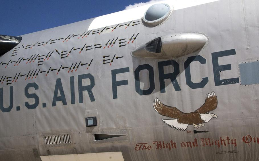 Aircraft art on a Boeing NB-52A Stratofortress at the Pima Air and Space Museum in Tucson, Arizona.