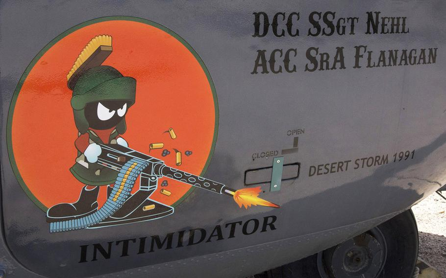 Marvin the Martian, from the Bugs Bunny cartoons, is featured on an MH-53 Jolly Green helicopter at the Pima Air and Space Museum in Tucson, Arizona.