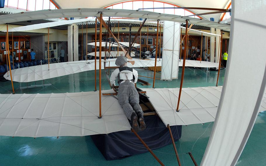 Replicas of pioneer aircraft at the Wright Brothers National Memorial in Kitty Hawk, N.C.